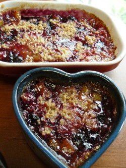 Rhubarb Crisp w Blueberries