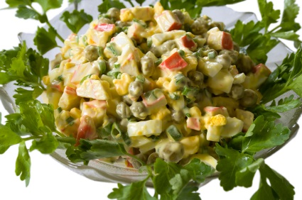 pea salad - crabs and eggs