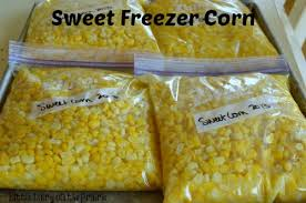 bags of frozen homemade corn