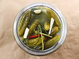 dill pickles in jar top view